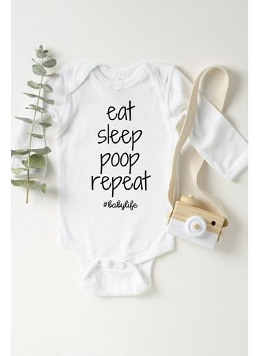 Happy Onesie Co Eat Sleep Poop Repeat Uzun Kol Çıtçıtlı Body Beyaz